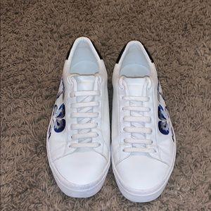Zara Man sneakers white floral blue low EUC 42